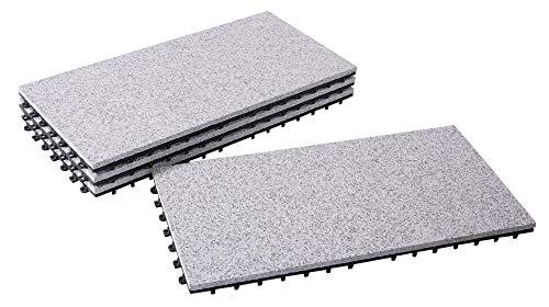 BodenMax® LLGRA001-GRY-3060Granit-classic 30x60cm Click Bodenfliesen Terassenfliesen Terassenplatte Stein Fliese KlickfliesenBalkonfliesen Innenbereich Außenbereichgrau (4 Stück)