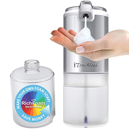 iTouchless Ultraclean 11 fl oz/325 ml Sensor Foam Soap Dispenser Rust-Free Automatic Touchless Pump, Mix Your Own FoamSoap, Restroom, Bathroom, Kitchen, Save Time and Money, Brushed Stainless Steel