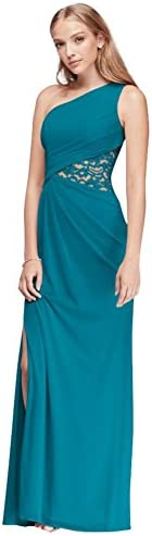 One Shoulder Mesh Bridesmaid Dress with Lace Inset Style F19419 Oasis 20 product image