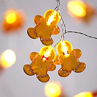 Impress Life Gingerbread Men Cookies Christmas String Lights Decoration, 10 ft 20 LED Battery Operated with Remote for Xmas Festive Holiday Season, DIY Home Classroom Birthday Wedding Party Ornaments
