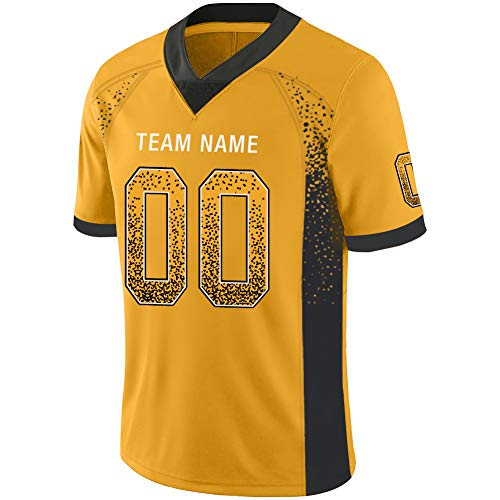 Custom Football Jerseys Customized Mesh Team Uniforms Personalized Printed&Stitched Name&Number for Men M Yellow and Black