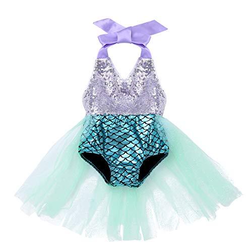 IEFIEL Disfraz Princesa Sirena para Bebé Niña Recién Nacida Vestido Tutú Lentejuelas Mameluco Purpurina Traje de Fiesta Carnaval Ropa de Baño de Una Pieza Plateado 12-18 Meses