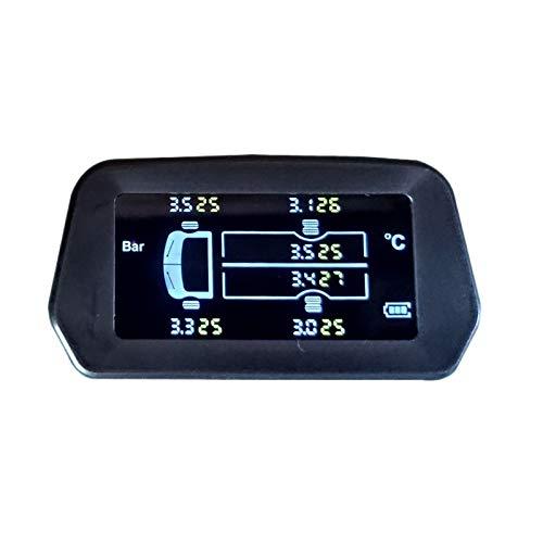 Jaimenalin Sistema Inalámbrico de Monitoreo de Presión de Neumáticos de Camión Tpms Solar 12.0 Alarma de Temperatura de Neumáticos de Barra con 6 Sensores Externos