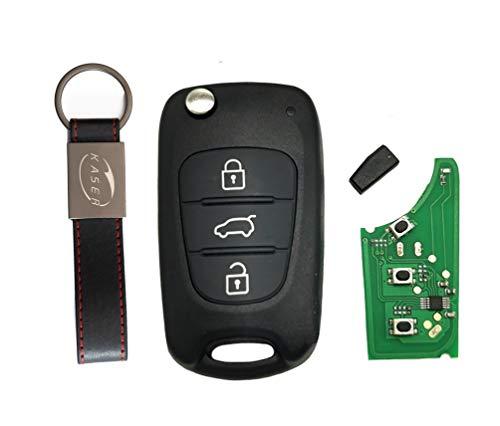 kaser Llave Mando Coche para Hyundai Kia con Tarjeta Electrónica 3 Botones para iX20 iX35 Tucson Sportage Rio (433Mhz ID46 Chip) Transponder con Llavero KASER