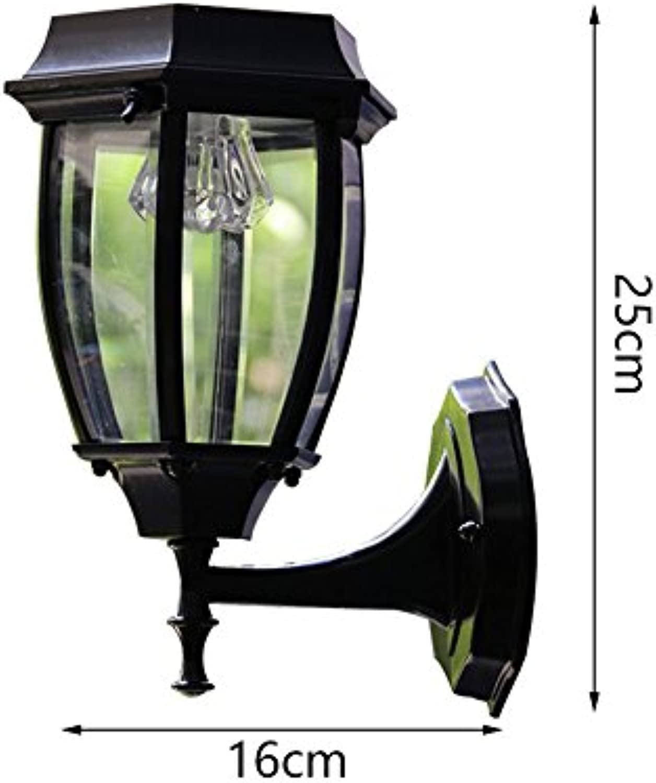 Firsthgus E27 Europische wasserdichte Retro Outdoor Gang Outdoor Garten Wandleuchte Solar 7 Zoll Flat schwarz 1W