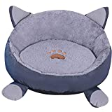 ZhuikunA Encantador Ronda Cool Suave Calentar Gato Nido para Mascotas Perro Cama + Cojín Gris L