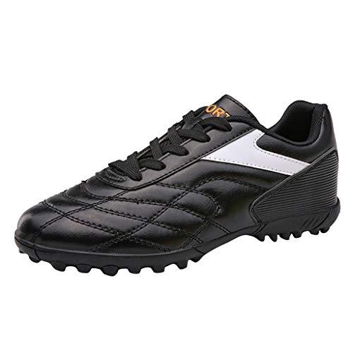 Zapatillas de Fútbol para Hombre Training PAOLIAN Botas de Fútbol Adolescentes Adultos Piel PU Zapatos de Deporte para Niños Sala con Tacos Spike Calzado de fútbol Mujer de Caucho (37 EU, Negro)