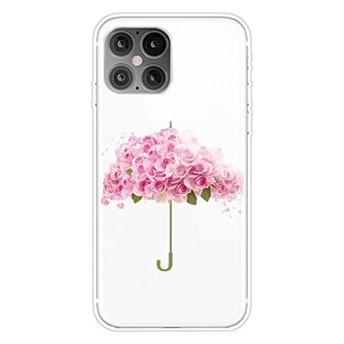 """Nadoli Transparent Silikon Hülle für iPhone 11 6.1"""",Durchsichtig Klar Lustig Kreativ Leicht Dünn Weiche Stoßfest Handyhülle Schutzhülle mit Blume Regenschirm Muster"""