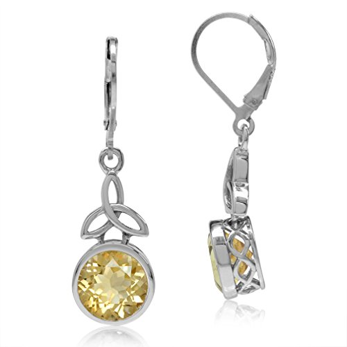 Silvershake 4.86ct. 9mm Natural Round Shape Citrine 925 Sterling Silver Triquetra Celtic Knot Leverback Earrings