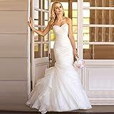 JYL Wedding Dress Bride Gown Bridesmaid Dress Neckline Open Back Off Shoulder Crochet Lace Double Floor Length Lace Mermaid Pure White/US:2 (S)
