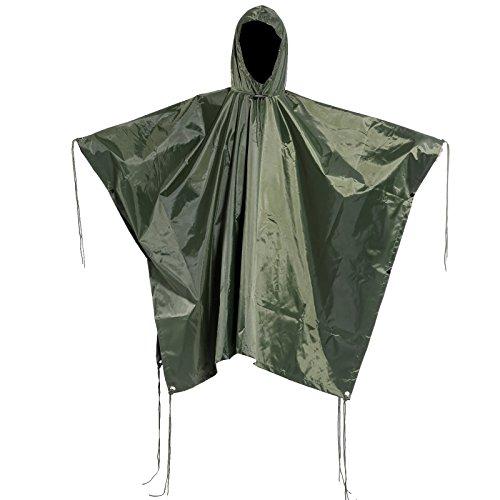 Copperside Regenponcho Regenschutz mit Kapuze Regenueberzug Regenjacke Fahrrad Poncho Olive