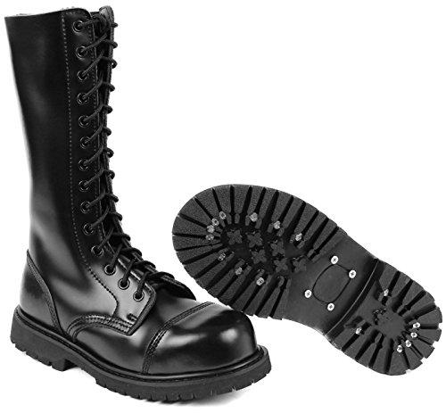 14 Loch UK Gothic Boots Springerstiefel 10,Schwarz