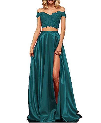 EVANKOU Damen Zweiteiliges Spitzensatin langes Ballkleid Offener Schultergurt Sexy Elegantes Abendkleid Grün Große 34
