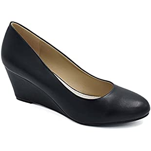 Greatonu Women's Formal Office Wedge Platform Mid Heel Dress Court Shoes ( EU 36 Black):Downloadlagump3gratis