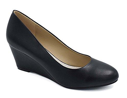 Greatonu Zapatos Cuña Negros Suedes Estilos Europa