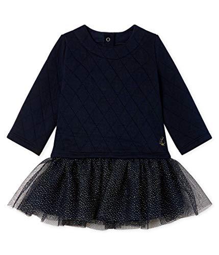 Petit Bateau Baby-Mädchen Robe ML_5252001 Kleid, Blau (Smoking 01), 80 (Herstellergröße: 12M/74cm)