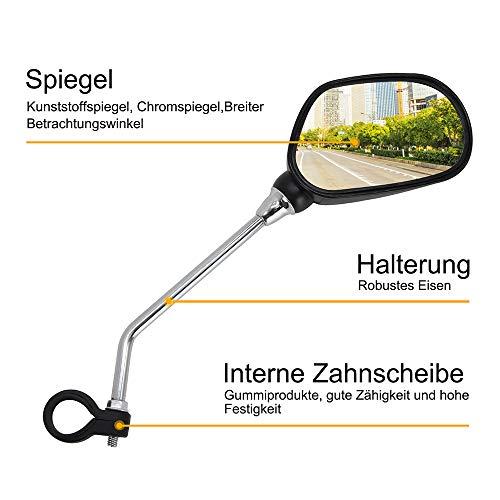 Arkham Fahrradspiegel Rückspiegel für Fahrrad Motorrad E-Bike, 2 Stück Lenkspiegel Set mit weißen Reflektor, flexibel Reflektierende Spiegel, Verstellbar & Klemm-Montage
