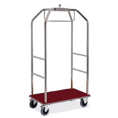 ETERNASOLID® Kleider- und Gepäckwagen verchromt, Teppich-Rot, Länge 99cm