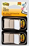 Post-it Standard Page Flags in Dispenser 1in Wide, White 100 Flags, 680-WE2