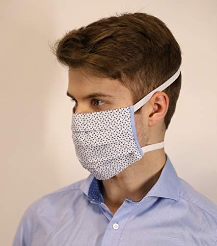 Mund und Nasenbedeckung für Menschen mit Hinterohr - Hörgerät weiß mit blauen Quadraten waschbar 100% Baumwolle hergestellt in Deutschland mit Gummibändern