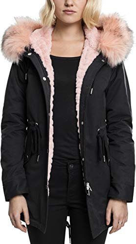 Urban Classics Damen Ladies Peached Teddy Lined Parka, Schwarz (Black 7), Medium