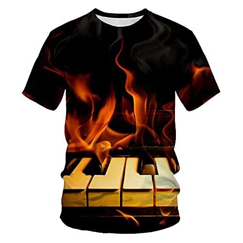 Camiseta Hombre Impresión 3D Creativo Abstracto Guitarra Música Patrón Hombres Cuello Redondo Manga Corta Verano Moda Casual Rock Hip-Hop Streetwear Hombre TD04 M