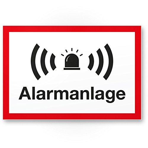 Komma Security Alarmanlage Kunststoff Schild 30 x 20 cm - Achtung Vorsicht Alarmgesichert - Hinweis Hinweisschild Alarm - Haus Gebäude Objekt