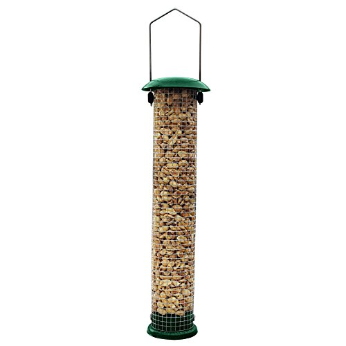 """Gray Bunny Premium Steel Sunflower Seed Feeder and Peanut Feeder, 15"""" Tall, Wild Bird Feeder for Woodpeckers, Titmice, Nuthatches, Chickadees, Jays and More!"""