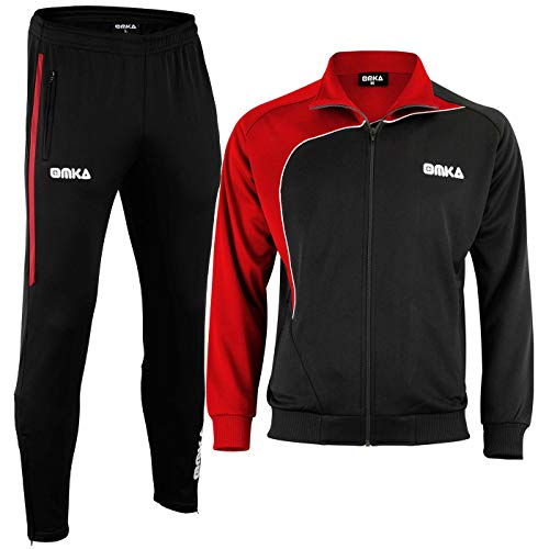 OMKA Trainingsanzug Sportanzug Jogginganzug Freizeitanzug, Größe:M, Farbe:Rot/Schwarz