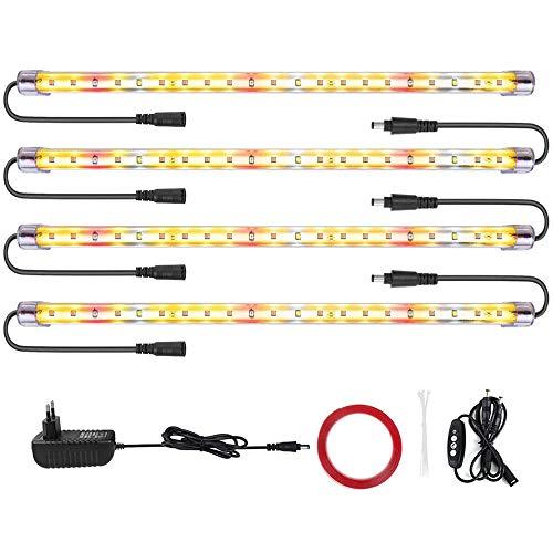 Led Pflanzenlampe LM301B &Full Spectrum 3500&Rote LED-Streifen mit Timer 3/6/12 Stunden Doppelkanal 4 Helligkeitsstufe führte pflanzenlicht für Zimmerpflanzen Gartenarbeit (84 LEDs)
