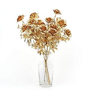 CUTE IS POWER Hibiscus Artificial Flowers Set, Artificial Flowers Plants Indoor and Outdoor Decoration, Farmhouse Decoration, Wedding Decoration, Metal Texture Monet Color (Gold 5 Sticks No Basin)