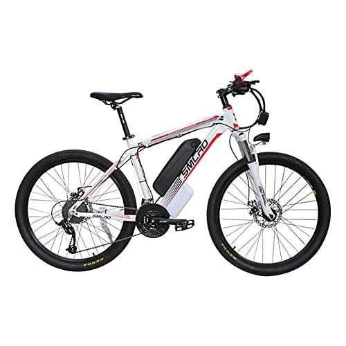SAWOO Bicicleta Eléctrica De 1000 W para Hombre, 26 Pulgadas Bicicleta De Montaña, Bicicleta De Carretera, Bicicletas Eléctricas para Adultos con Batería De 15 Ah, 27 Velocidades (Blanco)