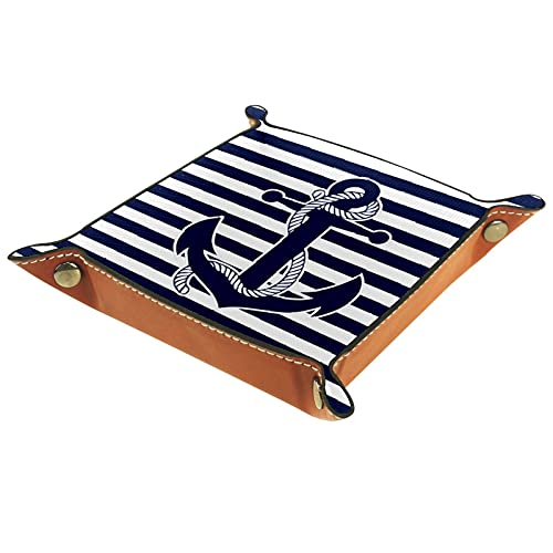 FCZ Nautical Navy Blue White Stripes And Anchor Leather Valet Tray Bedside Desktop Catchall Storage Organiser Box for Jewelry Key Wallet Coin Candy 20 x 20 cm