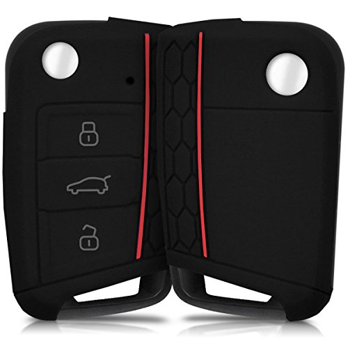 kwmobile Autoschlüssel Hülle kompatibel mit VW Golf 7 MK7 3-Tasten Autoschlüssel - Silikon Schutzhülle Schlüsselhülle Cover in Schwarz
