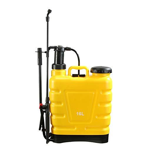 Flesser 4 Gallon Backpack Sprayer for Lawn and Garden Care with 4 Spraying Nozzles, Knapsack Pump Manual Sprayer with Lock Down Feature, Yellow