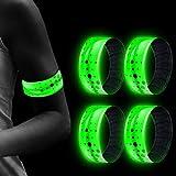 Airsnigi LED Armband, 4 Stück Leucht Armbänder, mit DREI Beleuchtungs modi LED Slap Armbänder/Armband/Leuchtband/Reflektorband für Joggen Laufen Radfahren Outdoor Sports Konzerte