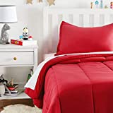 Amazon Basics Easy-Wash Microfiber Kid's Comforter and Pillow Sham Set - Twin, Red