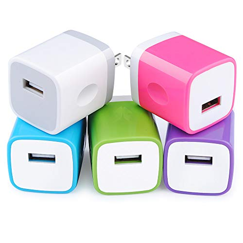 5Pack USB Plug Cube Wall Charger Single Port Power Block Charging Box Fast Charger Android Head One USB Brick Base Phone Adapter Compatible iPhone 11 Pro X 8 6 6s 5s SE 5C Plus iPad Samsung LG Moto