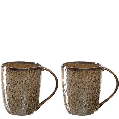 Leonardo 026984 Matera Lot de 2 tasses à café en céramique passant au lave-vaisselle et au micro-ondes Beige 430 ml