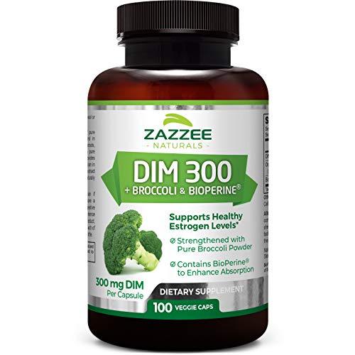 Zazzee DIM 300 mg, 100 Count, Vegan, Plus 10 mg BioPerine, 100 Day Supply, Plus Pure Organic Broccoli Extract, Vegan and Non-GMO, 300 mg of DIM per Capsule