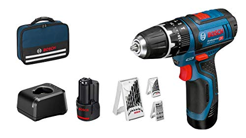 Bosch Professional 12V System Akku Schlagbohrschrauber GSB 12V-15 (Bohr-Ø Holz max: 19 mm, inkl. 2x2,0 Ah Akku + Ladegerät, 3x Bohrer-Set, in Tasche) - Amazon Edition