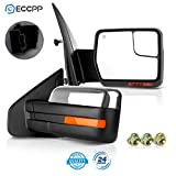 ECCPP Pair Set Replacement fit for Ford F-150 2007-2014 Chrome Towing Mirror Power Heated Puddle Light Turn Signal Side View