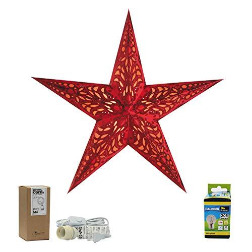 Papierstern rot mit Zubehör, Weihnachtsstern Geeta red M, Papierstern mit Kabel weiß, Faltstern Deko Deckenleuchte, Geschenkidee