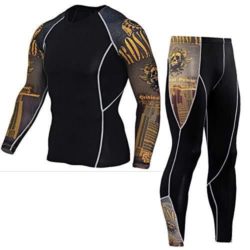Morbuy Fitness Sportanzug Herren, 2 Stück Funktionsshirt Tights Schnell Trocknend Kompressions T Shirt & Kompressions Leggings Bekleidung (L, Gelber Ärmelanzug)