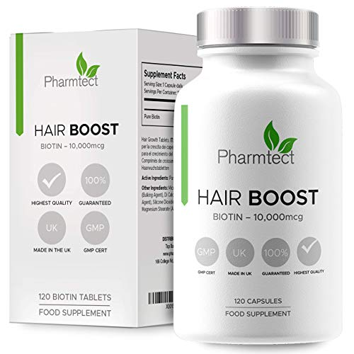 Hair Boost Biotin Hair Growth Supplement - 10,000mcg - High Potency Supplement Enriched with Pure Biotin - Supports Normal Skin & Hair Growth - 120 Vegan Tablets UK Made by Pharmtect