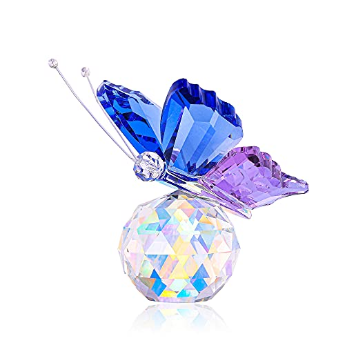 GEHECRST Blue-Purple Flying Butterfly Ornament  Crystal Ball Prism Collectible Figurine  Home Decoration with Gift Box for Mother s Day  Birthday  Housewarming