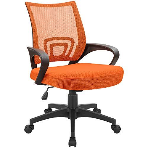 Devoko Office Chair Ergonomic Mid Back Swivel Mesh Chair Height Adjustable Lumbar Support Computer Desk Chair with Armrest (Orange)
