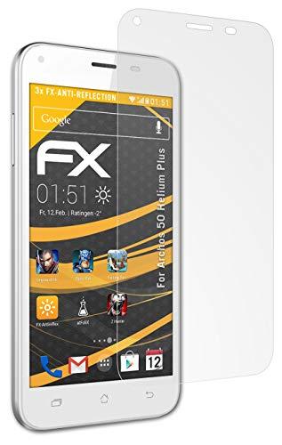 atFolix Panzerfolie kompatibel mit Archos 50 Helium Plus Schutzfolie, entspiegelnde & stoßdämpfende FX Folie (3X)