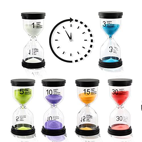 Reloj de Arena, Asistente de Gestión del Tiempo, Hourglass Kit 1/3/5/10/15/30 Minutos, Temporizador de Reloj de Arena para Niños, Aula, Cocina, Juegos, Decoración de Oficina en Casa, Regalos Creativos
