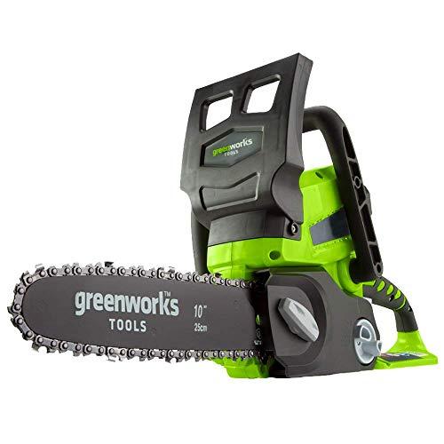 Greenworks Motosierra de batería G24CS25 (Li-Ion 24V 4 m/s velocidad de la cadena 25cm longitud de sable 50ml volumen del tanque de aceite sin batería y cargador)